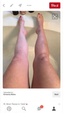 "Left leg - my pale normal self Right leg - with St. Moriz amazingness (this is actually their self-tanner in ""Dark"") JUST applied."